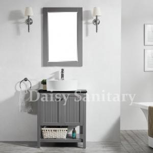Buy cheap 28 inch Bathroom Vanity solid wood Popular grey Modern style corner cabinet from wholesalers