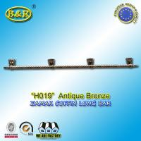 Quality Ref No zamak H019 zinc casket long bar  metal coffin hardware 1.55 meter long with 4 bases for sale