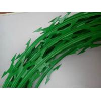 Buy cheap Custom Green Color Stainless Steel Barbed Wire , Razor Blade Barbed Wire product