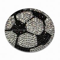 Buy cheap Crystal Car Decal Sticker in Football Shape, OEM Orders are Welcome, Various Colors are Available product