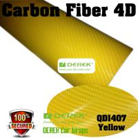 Buy cheap 4D Glossy & Shiney Carbon Fiber Vinyl Wrapping Films--Yellow product