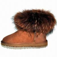 Buy cheap Cow Suede Ankle Snow Boots with Fox Fur product
