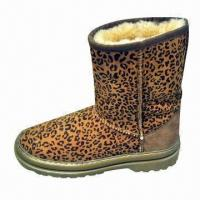 Buy cheap Women's Genuine Leather Casual Winter Riding Boots in Leopard, Customized Colors are Accepted product