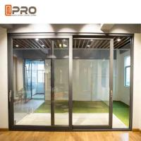 Quality Durable Aluminium Sliding Glass Doors Anodized Surface Finishing Sliver Color for sale