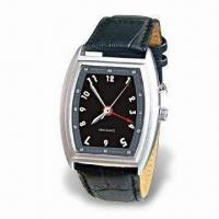 China Quartz Vibrating Alarm Watch with Durable Leather Watchband and Adjustable Time Setting on sale