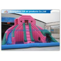 China Custom Pink Double Inflatable Water Slides For Toddlers Plays With Pool on sale