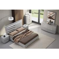 Buy cheap High Gloss King Bedroom Furniture Sets, Solid Wood Bedroom Furniture Fabric / PU Cover product