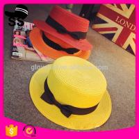 7662da8822a43 2017 New Style Natural Grass Wholesale 65g D30cm Fashion Lady s Colorful  Boater Paper with buttlefly Summer Straw Hats