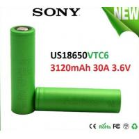 Quality SONY VTC6 18650 3000mAh 3.6V Electronic Cigarette battery, discharge 30A High Drain Recharge battery for sale