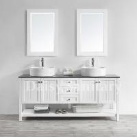 Buy cheap 72 inch Wood Bathroom Vanity Glass Countertop with White Vessel Sink from wholesalers