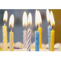Quality Simple Spiral Striped Birthday Candles With Colorful Dots No Harmful Tearless for sale