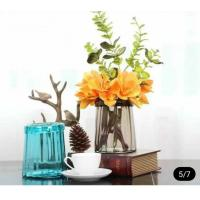 Buy cheap Blue Solid Standing Decorative Glass Vases Handmade For Flower House Hotel product