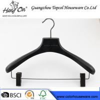 Buy cheap ashtree wooden clothes hanger with gun black clips product