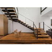 Straight U Shaped Staircase Design Carbon Steel Beam Wooden Treads