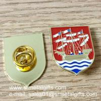 Sailing boat enamel lapel pin with color filled, butterfly clasp enamel lapel pins,