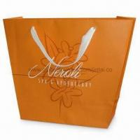 Buy cheap Recycled Paper Bag with PP Rope Handle and Shinny/Matte Lamination, Available in Orange product