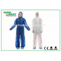 Buy cheap Nonwoven White Disposable Overalls PP / SMS / PP + PE Protective Coverall With Hood product