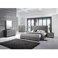 Modern Strong Structure Flat Pack Bedroom Furniture With Grey High Gloss Bedside Cabinet