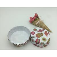 Buy cheap Round Shape Paper Baking Cups PET Coated Film Candy / Flower Pattern Cupcake Liners product