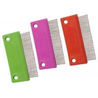 Buy cheap Double Hole PP Handle Pet Flea Comb Multicolor With Short Stainless Steel Pins product
