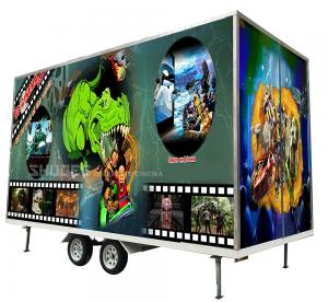 Buy cheap Flexible Mobile 5D Cinema With Trailer And 12 Red Motion Electric Seats product