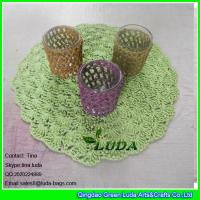 ce54e3be65 LDTM-040 green paper straw placemat round floral decorative table placemat