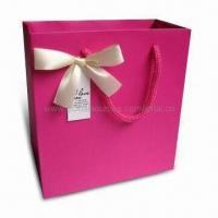 Buy cheap Retail Paper Bag with Ribbon Handle, Suitable for Garments, Measures 40 x 30 x 10cm product