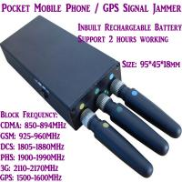 Buy cheap 3 Antenna Mini Mobile Phone Signal Jammer 3G/GSM/CDMA/DCS/PHS GPS Blocker Inbuilt Battery product