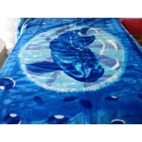 Antistatic Blue Soft Mink Blanket Adults With Cartoon , 85% Acrylic 10%