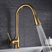 Buy cheap Gold long neck extendable pull out brass kitchen basin faucet  For Hotel Use product