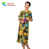 Buy cheap Flower Printed Long Casual Summer Dresses With Short Sleeves 100% Cotton Material product