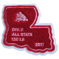 Buy cheap Simple Design Chenille Sports Patches 3 Inches High Heat Cut Border product