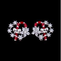 Buy cheap Exquisite Star Charm Earrings Christmas Wreath Enamel Costume Jewellery product