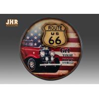 Buy cheap Route US 66 Wooden Wall Plaques Round Wood Wall Hanging Signs Antique Pub Sign product