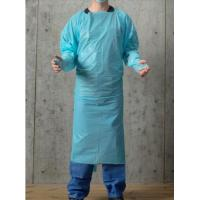 Quality Blue 30-100g Disposable PPE Gown , CPE Surgical Gown , surgical Gown with thumb loop cuff for sale