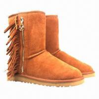 Buy cheap Fashionable Women's Snow Boots/Genuine Leather Winter Boots with Tassels and Zipper, Fur product