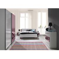 Buy cheap European Red and White High Gloss Home Bedroom Furniture With Mirror Sliding Wardrobe product