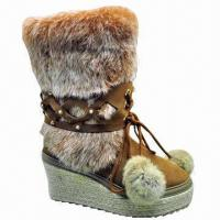 Buy cheap Fashionable Women's Sheepskin Winter Snow Boots with Rich Cozy Hairs, Customized Colors are Accepted product