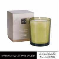 Buy cheap Handmade Scented Soy Candles , Long Lasting Scented Candles In Green Clear Bottle product