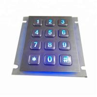 Buy cheap LED backlit waterproof industrial metal keypad with 12 keys and USB for metal kiosk product