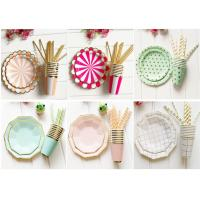 China Paper Cups And Plates Set Festival Party Decorations With Hot Stamping Foil Color on sale