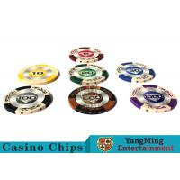 Buy cheap 14g Custom Clay Poker Chips With Mette Sticker 3.4mm Thickness product