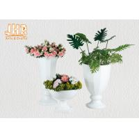 Buy cheap Trumpet Glossy White Polystone Centerpiece Table Vases Floor Vases For Home product