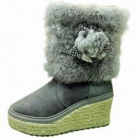 Buy cheap 2013 Spring Fashion Women's Sheepskin Platform Boots with Rabbit Fur, Customized Colors Are Accepted product