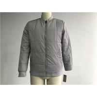 Buy cheap Grey Quilted Mens Polyester Bomber Jacket With Rib Detail Plastic Zip Through Tw77570 product
