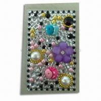 Buy cheap Stickers for Mobile Phones, Made of Acrylic, Decorated with Crystal and Rhinestones product