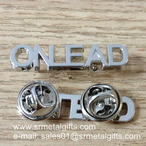 silver monogram letters lapel pins
