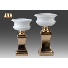 Buy cheap Glossy White Fiberglass Flower Pot With Gold Leaf Pedestal Floor Vases product
