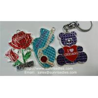 Buy cheap Clear Crystal Enamel Charms, Red Rose Crystal Clear Enamelled Charm Pendants Factory product