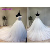 Buy cheap Stunning Organza Strapless Ball Gown Wedding Dresses , Long Train White Lace Ball Gown product